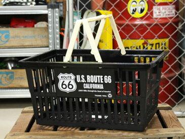 ルート66(ROUTE66) バスケット 収納 かご プラスチック おしゃれ マーケットバスケット 買い物かご 洗濯物 洗車 小物入れ アメリカ アメリカン雑貨 サイズL_SB-002L-SHO
