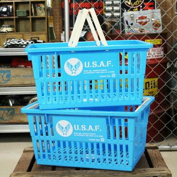 US AIR FORCE(アメリカ空軍) バスケット 収納 かご プラスチック おしゃれ ミリタリー マーケットバスケット 買い物かご 洗濯物 洗車 小物入れ アメリカ アメリカン雑貨 サイズL 2個セット_SB-001L2P-SHO