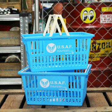 US AIR FORCE(アメリカ空軍) バスケット 収納 かご プラスチック おしゃれ ミリタリー マーケットバスケット 買い物かご CDケース 洗車 小物入れ アメリカ アメリカン雑貨 サイズS 2個セット_SB-001S2P-SHO