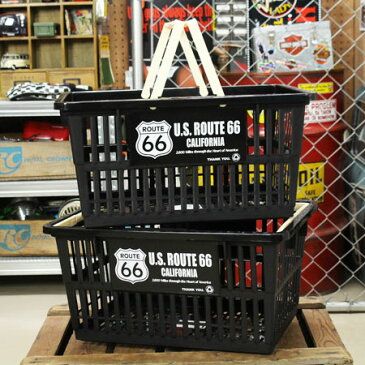 ルート66(ROUTE66) バスケット 収納 かご プラスチック おしゃれ マーケットバスケット 買い物かご 洗濯物 洗車 小物入れ アメリカ アメリカン雑貨 サイズL 2個セット_SB-002L2P-SHO