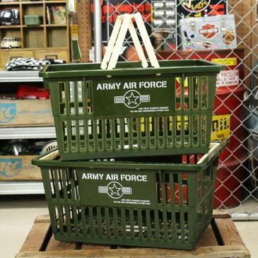 ARMY AIR FORCE(アメリカ陸軍航空軍) バスケット 収納 かご プラスチック おしゃれ ミリタリー マーケットバスケット 買い物かご 洗濯物 洗車 小物入れ アメリカ アメリカン雑貨 サイズL 2個セット_SB-004L2P-SHO