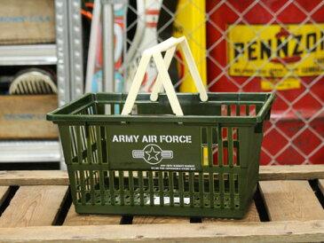 ARMY AIR FORCE(アメリカ陸軍航空軍) バスケット 収納 かご プラスチック おしゃれ ミリタリー マーケットバスケット 買い物かご CDケース 洗車 小物入れ アメリカ アメリカン雑貨 サイズS_SB-004S-SHO