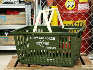 ARMY AIR FORCE(アメリカ陸軍航空軍) バスケット 収納 かご プラスチック おしゃれ ミリタリー マーケットバスケット 買い物かご 洗濯物 洗車 小物入れ アメリカ アメリカン雑貨 サイズL_SB-004L-SHO