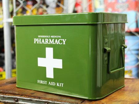 救急箱 おしゃれ アンティーク レトロ スチール製 小物入れ ファーマシーボックス アメリカ 雑貨 アメリカン雑貨 カーキ_SR-K918KH-HYS