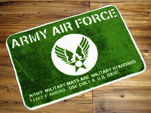 ミリタリー感を演出するフロアーマット、米空軍エンブレム柄♪フロアーマット/アーミーエアフォ...