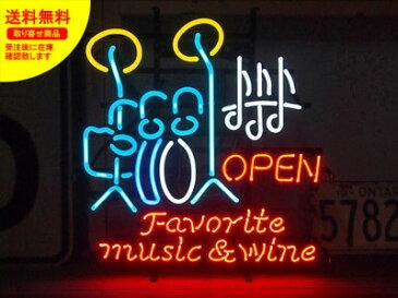 ネオンサイン ネオン 看板 電飾看板 ライト インテリア アメリカン 店舗 ショップ OPEN ジャズ 酒 ワイン アルコール ギター バー クラブ FAVORITE MUSIC_NS-048-SHO