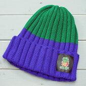 ラットフィンクニット帽子(ウォッチキャップ)RatFinkパープルXグリーン