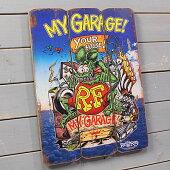 ラットフィンクポスターサインボードアンティーク調木製RatFinkMYGARAGE