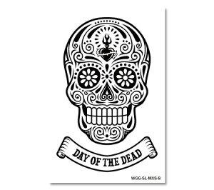 ステッカー スカル メキシカンスカル フェイスシール アメリカン 車 おしゃれ かっこいい アウトドア スーツケース バイク ハロウィン カーステッカー MEXICAN SKULL DAY OF THE DEAD ハート 【メール便OK】_SC-MXS8-AHD