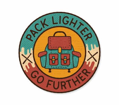 ステッカー アウトドア アメリカン おしゃれ スーツケース 車 バイク かっこいい Vintage Outdoor Budges リュック バックパック PACK LIGHTER 【メール便OK】_SC-VOB001-AHD