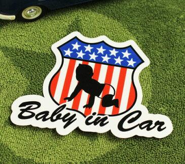 BABY IN CAR ステッカー 車 赤ちゃん アメリカン 赤ちゃん乗ってます おしゃれ かっこいい ROAD SIGN サイズM 【メール便OK】_SC-BIM15-LFS