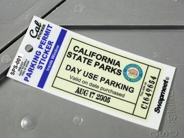 パーキングパーミットステッカー 車 アメリカン 駐車許可 パロディ カリフォルニア 裏貼り PARKING PERMIT STICKER カリフォルニア州駐車場 【メール便OK】_SC-SPS001-HBT
