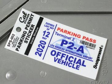 パーキングパーミットステッカー 車 アメリカン 駐車許可 パロディ カリフォルニア 裏貼り PARKING PERMIT STICKER ロサンゼルス国際空港 【メール便OK】_SC-SPS002-HBT