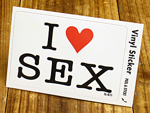 ステッカー 車 アメリカン アイラブ おしゃれ バイク ヘルメット かっこいい カーステッカー 愛してる I LOVE SEX セックス 【メール便OK】_SC-IL011-GEN
