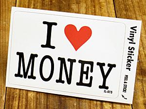 ステッカー 車 アメリカン アイラブ おしゃれ バイク ヘルメット かっこいい カーステッカー 愛してる I LOVE MONEY お金 【メール便OK】_SC-IL015-GEN