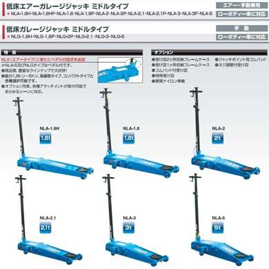 NLA-1.8HP長崎ジャッキ1.8t低床エアーガレージジャッキミドルタイプ