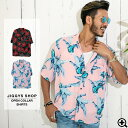 ◆総柄オープンカラー半袖シャツ◆アロハシャツ 半袖シャツ メ...