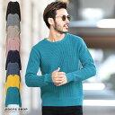 ◆ラーベン編みクルーネック綿ニット◆ニット セーター メンズ...