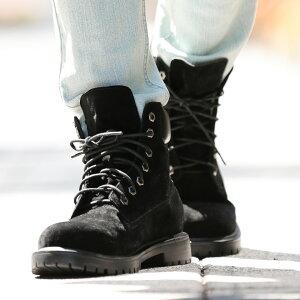 メンズブーツメンズブーツ◆roshell(ロシェル)フェイクスエードワークブーツ◆イエローブーツメンズシューズワークブーツスエードスウェードショートショートブーツ靴レザー黒お兄系メンズファッション秋物