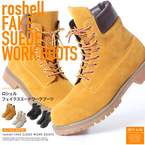 ◆roshell(ロシェル)6インチスエードブーツ◆お兄系Men'sブーツメンズお兄系ブーツシューズ靴レザー黒お兄系ファッションお兄%OFFメンズファッションスエードスウェードワークブーツショートたけぞー黒野慎