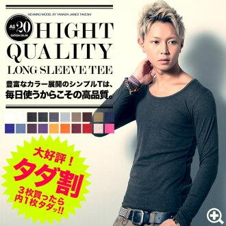 ◆Roshell U Neck Plain Long Sleeve T-shirt◆men's fashion / women's S/M/L/XL/size / Color Simple Tshirt / Classic Style / mix and match