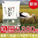 新米 送料無料 減農薬 無化学肥料 白米 5kg×2袋 食べ...