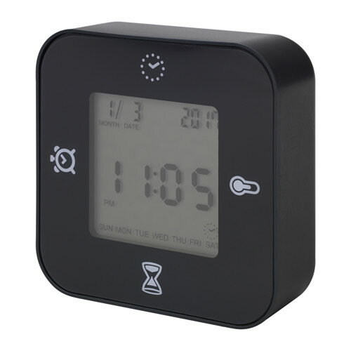 IKEA(イケア)KLOCKIS(ブラック )時計/ 温度計/アラーム/タイマー時刻/日付 温度 タイマー カウントダウンの4つの機能 置き時計