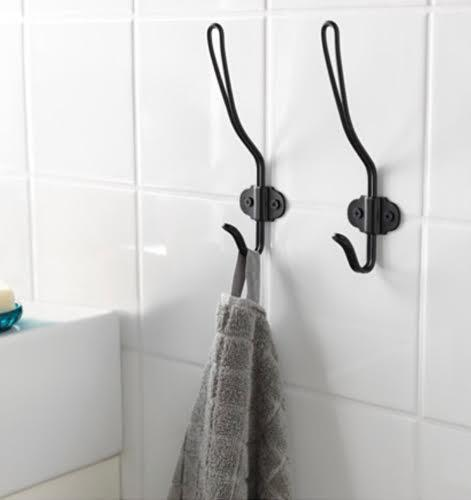 IKEA(イケア)SVARTSJON スヴァルショーン フック ブラック バスルームアクセサリー タオルハンガー タオルホルダー