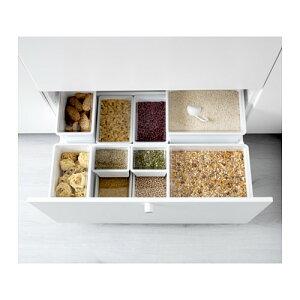 IKEA(イケア)TILLSLUTA乾燥食品用容器ふた付き/ホワイト23x16x12