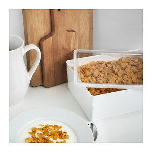 IKEA(イケア)TILLSLUTA乾燥食品用容器ふた付き/ホワイト31x23x12