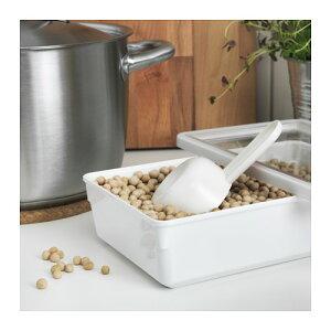 IKEA(イケア)TILLSLUTA乾燥食品用容器ふた付き/ホワイト23x15x6