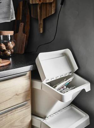 IKEA(イケア)SORTERA ソルテーラ分別ゴミ箱 ふた付 ホワイト衣類収納 キッチン リビング 子供部屋収納