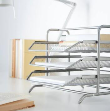 IKEA(イケア)DOKUMENT レタートレイ シルバーカラー 書類収納 デスク整理 書類トレイの写真