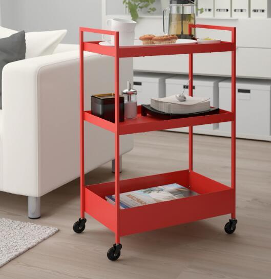【NEW】IKEA(イケア)ニッサフォース レッドオレンジNISSAFORS ワゴン北海道・沖縄・離島は送料¥1950キッチンワゴン キャスター付き 604.657.46 バスルームワゴン ベッドルーム サイドテーブル