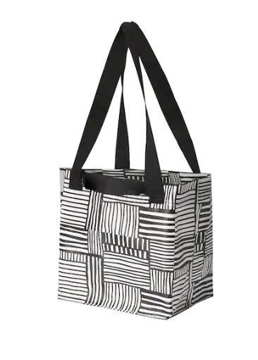 IKEA(イケア)FISSLA フィスラバッグ Sホワイト×ブラック 004.292.85旅行 キャンプ ショッピング ゴミ分別 収納バッグ コンパクトバッグ モノトーン