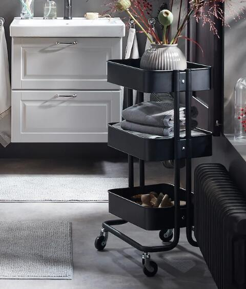 【送料無料】IKEA(イケア)RASKOG ワゴン ブラック北海道・沖縄・離島は別途送料¥1950ベッドサイドテーブルキッチンワゴン ロスコーグ 703.339.77 ロースコグ