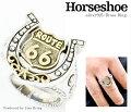 【送料無料】ルート66モチーフホースシューリングミル打ち馬蹄スター星ルート66ROUTE66フリーサイズ#15〜#25調節可能シルバー925真鍮リング指輪ユニセックスメンズレディースブランドGOODVIBRATIONS