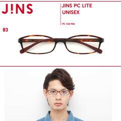 【1色】【JINS PC LITE パッケージタイプ クリアレンズ】度なしスクエア(ブルーライト35%カッ...