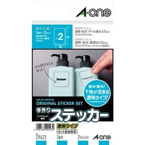 29423【税込】 エーワン 手作りステッカー 透明タイプ 1面 はがきサイズ 2セット A …