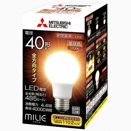 三菱 LDA4L-G/40/S-A LED電球 ミライエMILIE E26 電球色 /40W相当 一般電球形