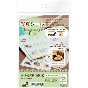 29625 エーワン 写真シール フォト光沢紙(白無地)Instant camera's Film A-one