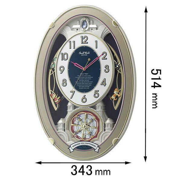リズム時計工業 スモールワールド ウイッシュ 電波 掛け 時計 4MN544RH18 1個