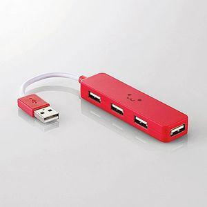 エレコム USBHUB2.0/カラフルモデル バスパワー/4ポート レッドFACE U2H-SN4NBF1RD 1個 ELECOM