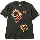 BUT-45070-278-M【税込】 バタフライ 卓球ウェア(男女兼用)(ブラック・Mサイズ) キュービック・Tシャツ [BUT45070278M]【返品種別A】【RCP】
