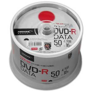 TYDR47JNP50SPMG HIDISC データ用 16倍速対応DVD-R 50枚パック 4.7GB ワイドプリンタブル  [TYDR47JNP50SPMG]