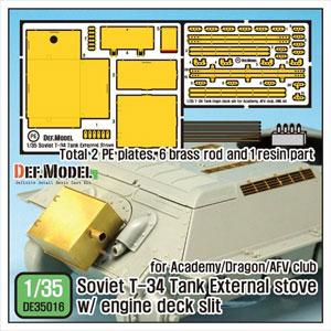 1/35WWII露T-34暖機ストーブセットグリルディティール付き(アカデミー/ドラゴン/AFVクラブ用) DE35016 ディ