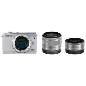 EOSM100WH-WLK キヤノン ミラーレスカメラ「EOS M100」ダブルレンズキット(ホワイト) [EOSM100WHWLK]【返品種別A】【送料無料】