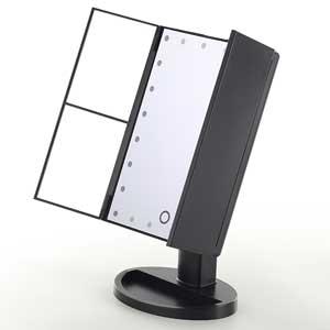 センター商事 KW034B-BK ブラック アクトレスミラー24LED 10倍拡大鏡付卓上ミラー