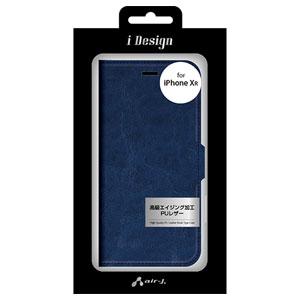 c64b43149d AC-P18M-PB NV エアージェイ iPhone XR用 PUレザー手帳型ケース