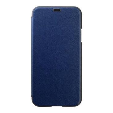 PUY-83 パワーサポート iPhone XS用 エアージャケット PUレザー ウォレットタイプケース(ネイビー) Air Jacket